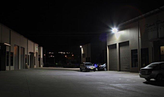 Floodlighting at night at storage facility