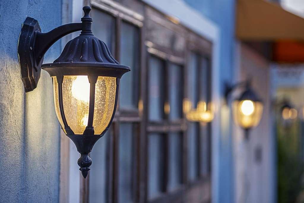 Outdoor lighting fixture at night