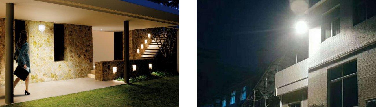 Outside lighting at night at storage facility