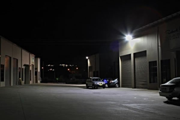 Floodlighting at night at storage facility - support lighting