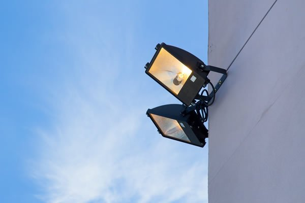 Outdoor floodlighting for security - support lighting
