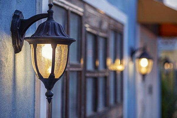 Outdoor lighting fixture at night - support lighting